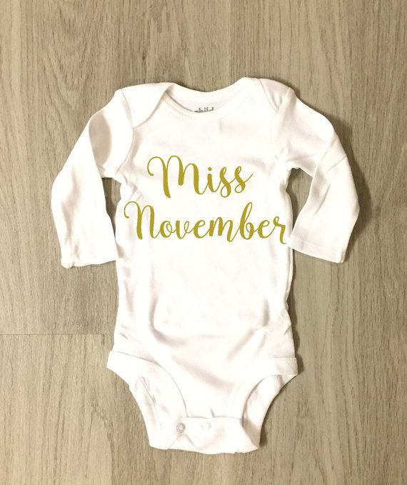 Miss November baby girl bodysuit by 8thWonderOutfitters on Etsy