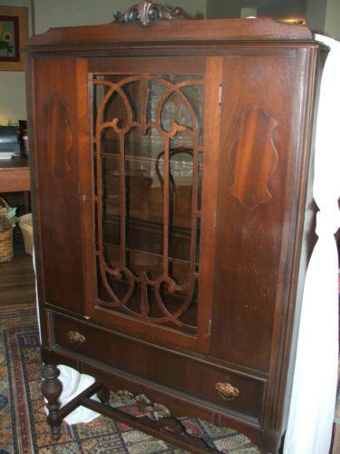 Antique Depression Era China Cabinet Breakfront Cupboard