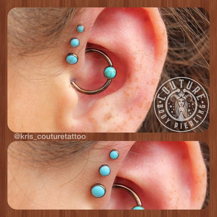 """""""Fresh #daith with a turquoise captive from #Anatometal and a 3 week old triple forward helix healing nicely. Anodized bronze. #couturetattoo…"""""""