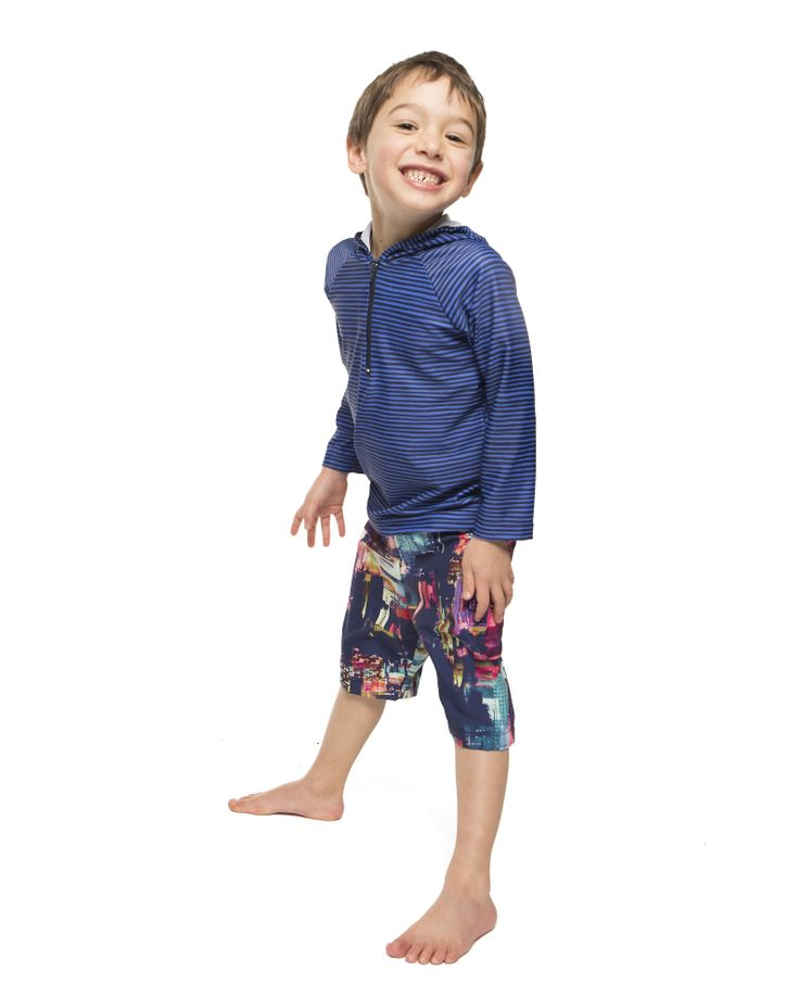 Unisex Hooded swim top UPF 50+  Hand drawn stripe. *also available in Mini Parrot and Teal. Boys Swim short UPF 50+  City Scape.  Sizes 2-6 years