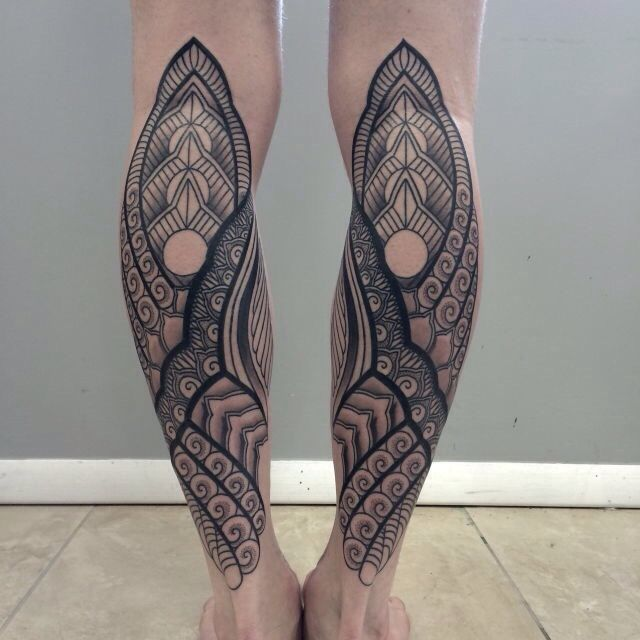 B w decorative calf tattoos symmetry line work abstract for Tattoo line work