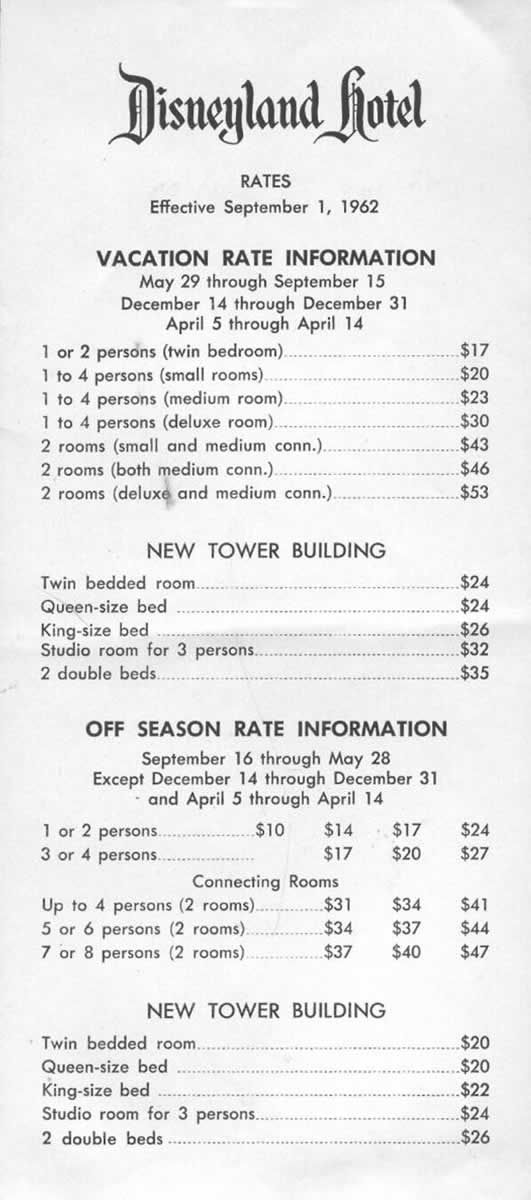 """1962 rates, sure have gotten higher,,JUST A """"LITTLE""""  DIFFERENT TODAY...FOLLOW MY DISNEY BOARD FOR GREAT DISNEY PINS INCLUDING GREAT TRIP TIPS...AC"""