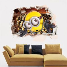 3D Minions Style Removable Wall Stickers Colorful Room Window Decoration for Bedroom Wall Decorations | RoseGal.com