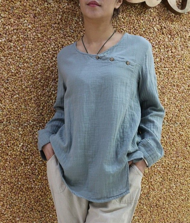 Wrap Collar Casual Linen Top