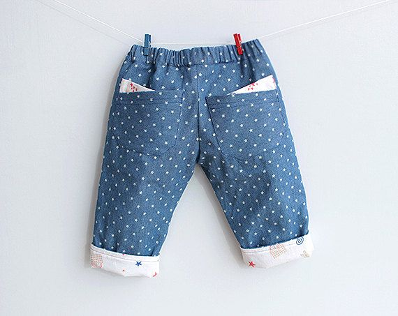 LITTLE STARS Pants Jeans Boy and Girl sewing pattern Pdf, Fully Lined, children babies toddler newborn 3 6 9 12 18 m 1, 2, 3, 4, 5, 6 yrs