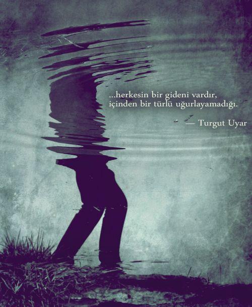 ...  herkesin bir gideni vardır, içinden bir türlü uğurlayamadığı.  — Turgut Uyar