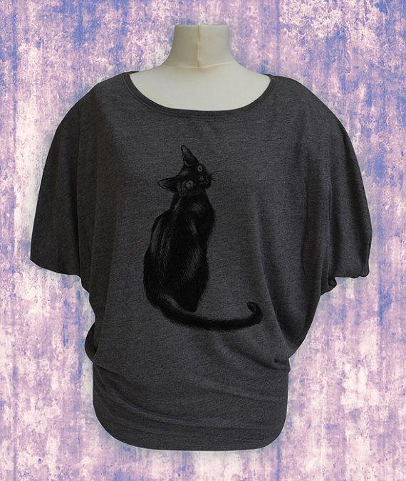 Cat t-shirt in Dark Grey. Flowy dolman sleeve tshirt. Handprinted cat t-shirt. Black cat. Batwing top. Loose wide neck top.