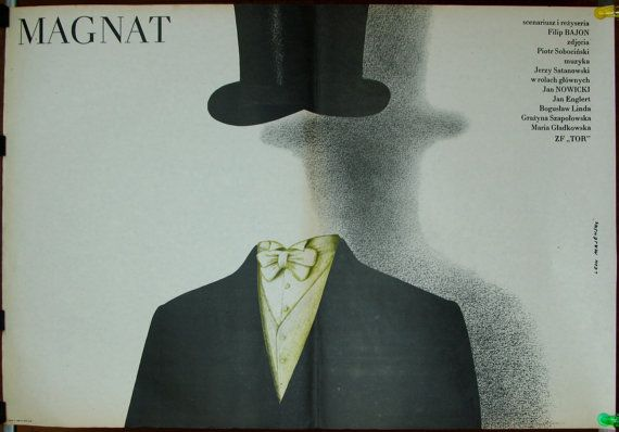 The Magnate - Polish 1986 film by Filip Bajon. Two original Polish 1986 poster by Lech Majewski. Vintage poster. Drama