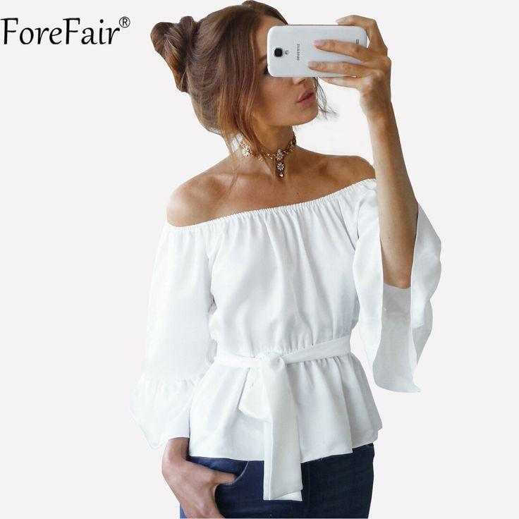 ForeFair Summer Sexy Off Shoulder Slash Neck Black White Chiffon Blouse Plus Size Wrist Flare Sleeve Tunic Women Tops #Affiliate