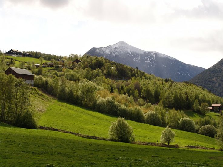 Gudbrandsdalen - Norway. Farms on the sloping hillsides down to the river.