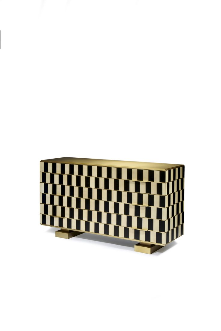 Op Art chest of drawers, Shifting Réflexions Collection, Design by Hervé Langlais, Black ebony and white sycamore marquetery satin brass top and legs, 2015