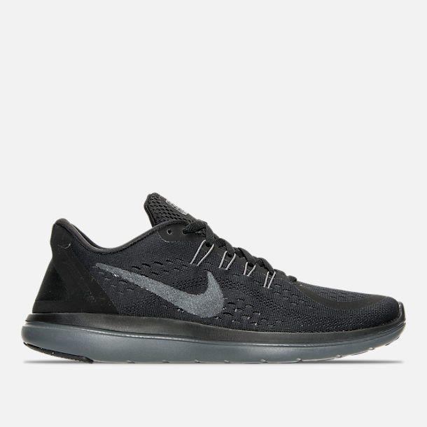 Right view of Women's Nike Flex 2017 RN Running Shoes in Black/Metallic Hematite/Anthracite
