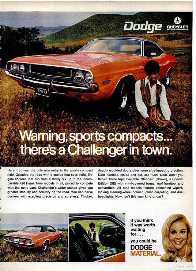 1970 Dodge Challenger Ad Dodgechargerclassiccars Dodge Dodge Challenger Challenger
