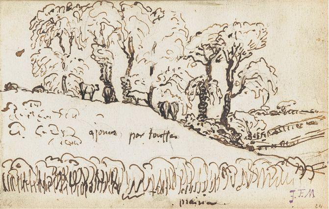 Jean-François Millet (1814-1875), Mucche sotto gli alberi vicino a Gruchy, penna, inchiostro bruno, matita e acquerello.