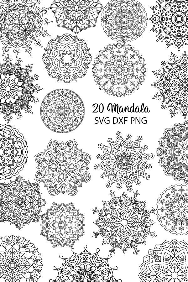 Download 20 Mandala Vectors SVG DXF PNG - For Crafters   Mandala ...
