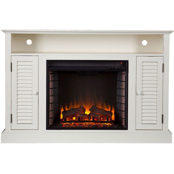 Media Console Fireplace Electric Heater Tv Stand Cabinet Shelves Storage White Electric