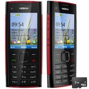 Celular Desbloqueado Nokia X2 Vermelho/Preto c/ Câmera 5MP, Rádio FM, MP3, Bluetooth, Fone de Ouvido e Cartão 2GB