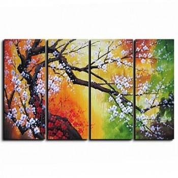 Hand-painted Floral Oil Painting with Stretched Frame - Set of 4 - OutletsArt.com