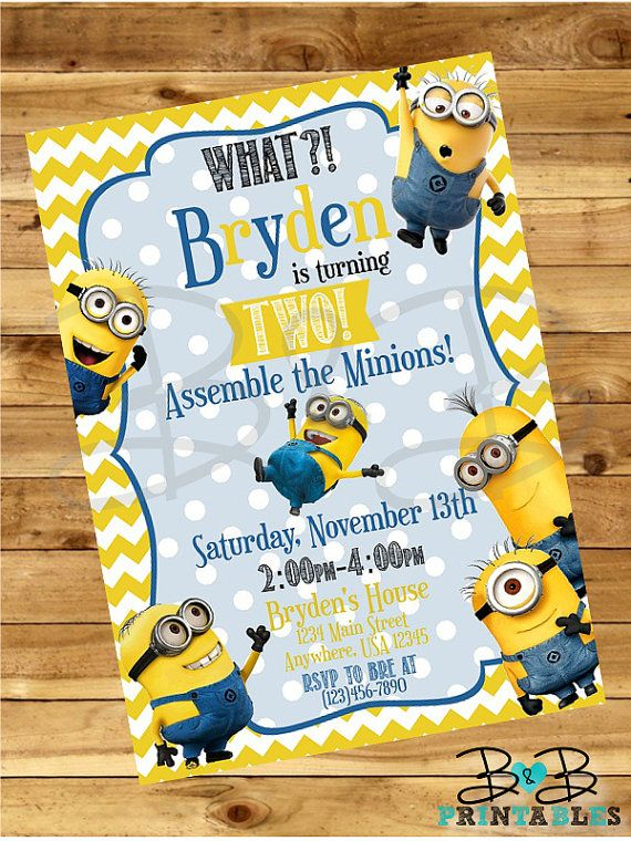 Minion Invitation. Minion Party Invitation. by BandBPrintables
