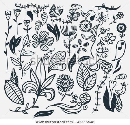 stock vector : A hand drawn flower set. Vector illustration.