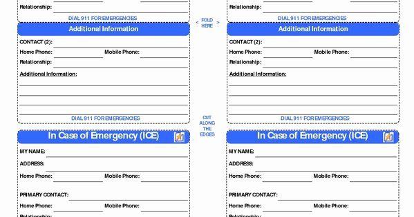 Printable Emergency Card Template Fresh Id Card Template In Case Of Emergency Cards Id Card Template Card Template In Case Of Emergency