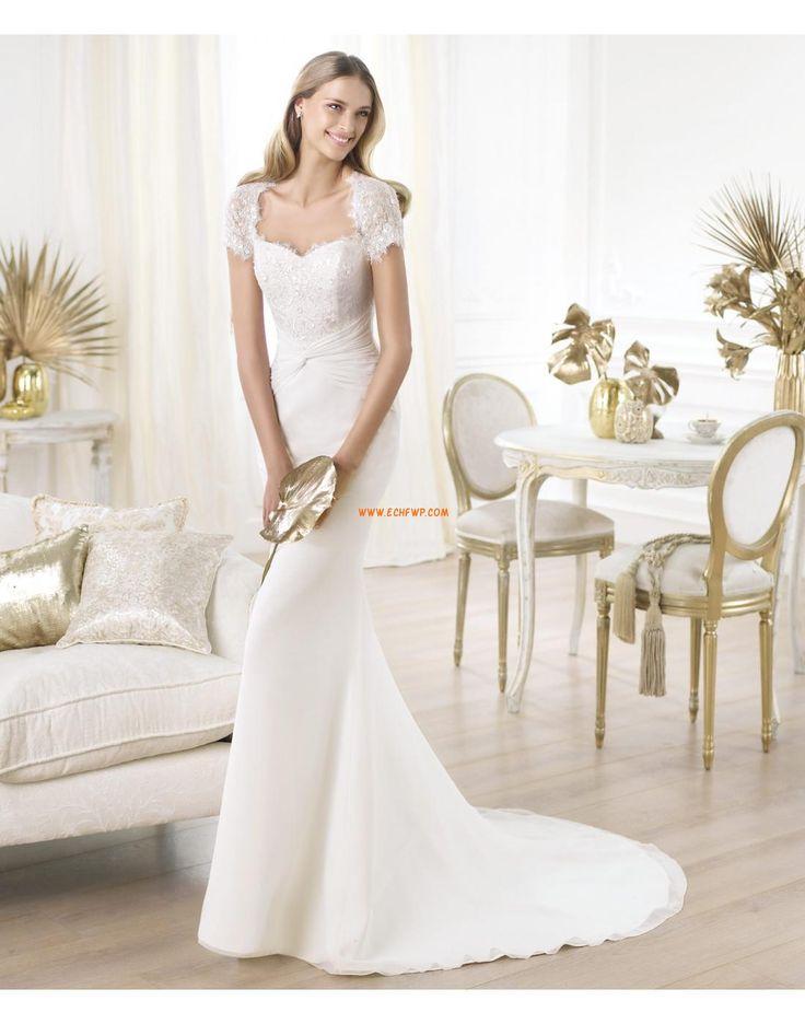 Square Short Sleeve Zipper Wedding Dresses 2014