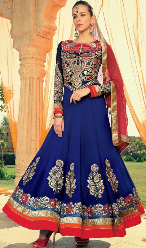 Navy Blue and Red Embroidered Georgette Floor Length Anarkali Suit Price: Usa Dollar $172, British UK Pound £101, Euro126, Canada CA$ 184, Indian Rs9288.