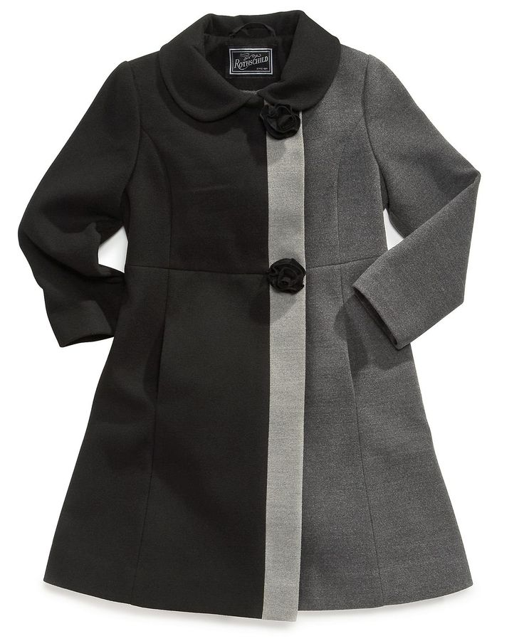 Rothschild Girls and Toddlers Colorblock Dress Coat... Kids' clothes are so fashionable! I wish I can find this in my size.