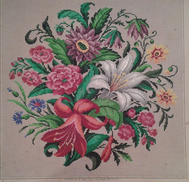 A Stunning Floral Bouquet Berlin WoolWork Pattern Produced y M Levy In Berlin