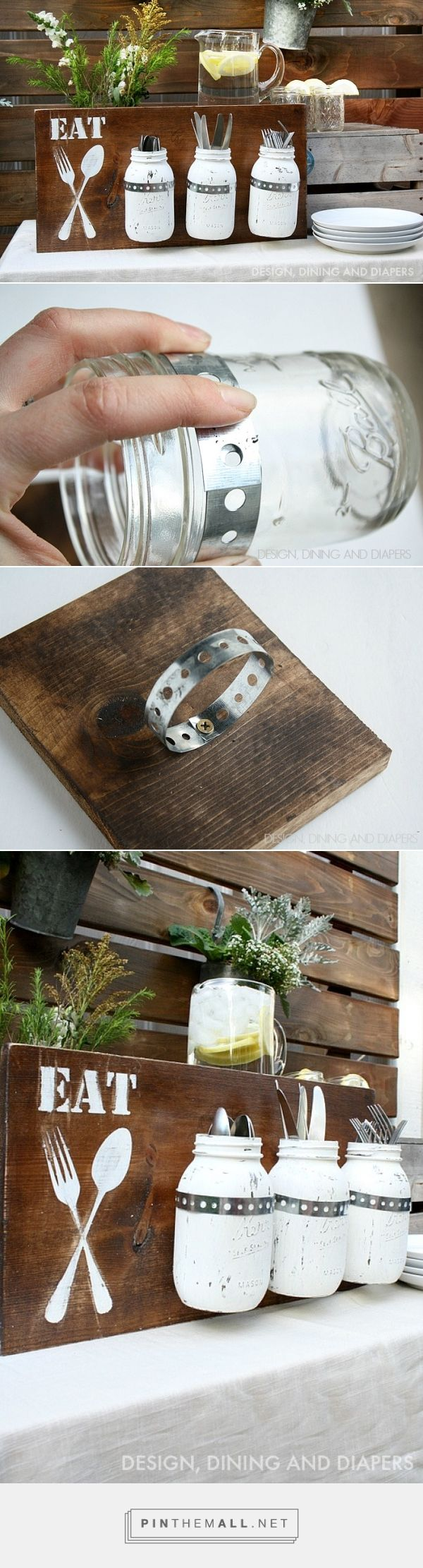 DIY Silverware Holder | Porta posate per la cucina con legno e barattoli riciclati... Via designdininganddiapers.com #FarmersXmasGifts #Christmas #Gift #Handmade #Homemade #Diy #Eat #Wood