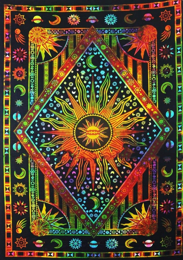 Indian Sun & Moon Tapestry Wall Hanging Tie Dye Trippy ...