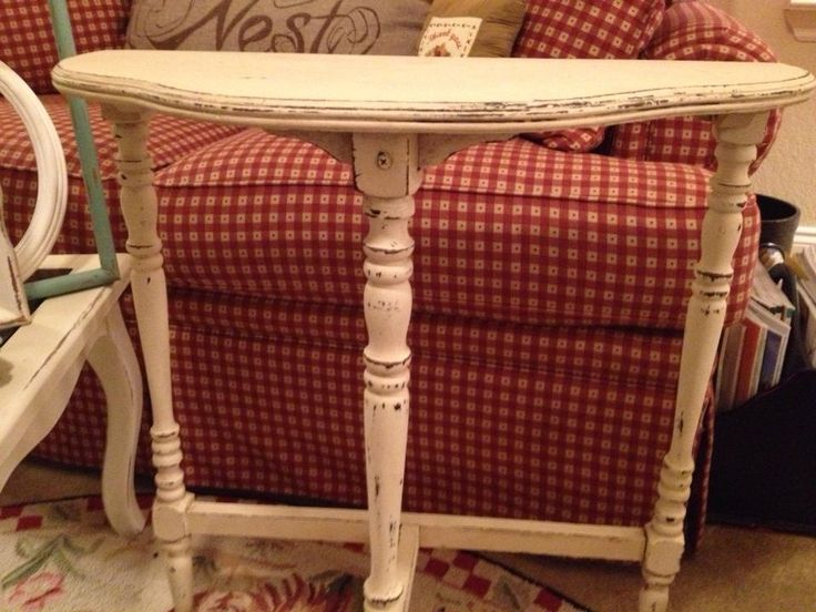 adorable half moon table has been chalk painted distressed and hand waxed to preserve