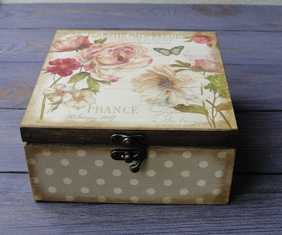 Tea storage box. Tea bag box. Tea bag storage. Wooden tea box. Decoupage. Rose & 25+ unique Wooden tea box ideas on Pinterest   Decoupage box Tea ... Aboutintivar.Com