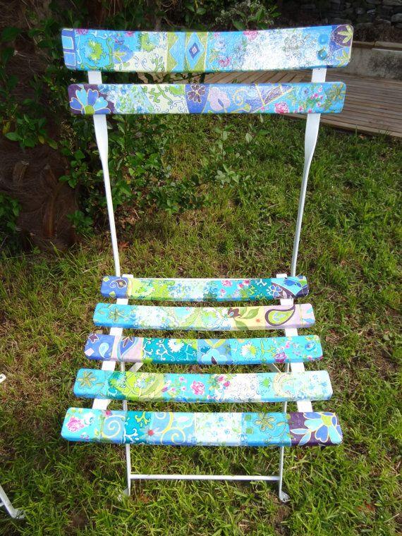 Garden chair - parisian bistrot style - handmade - blue