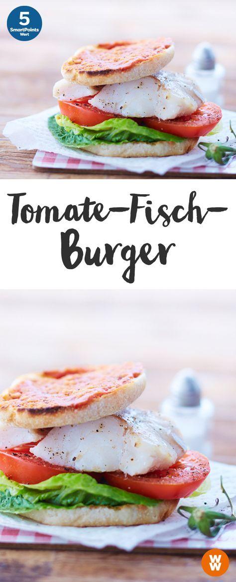 Tomaten-Fisch-Burger   5 SmartPoints/Portion, Weight Watchers, fertig in 30 min.
