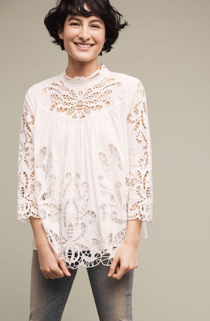 new anthropologie white butterfly laced high neck blouse high