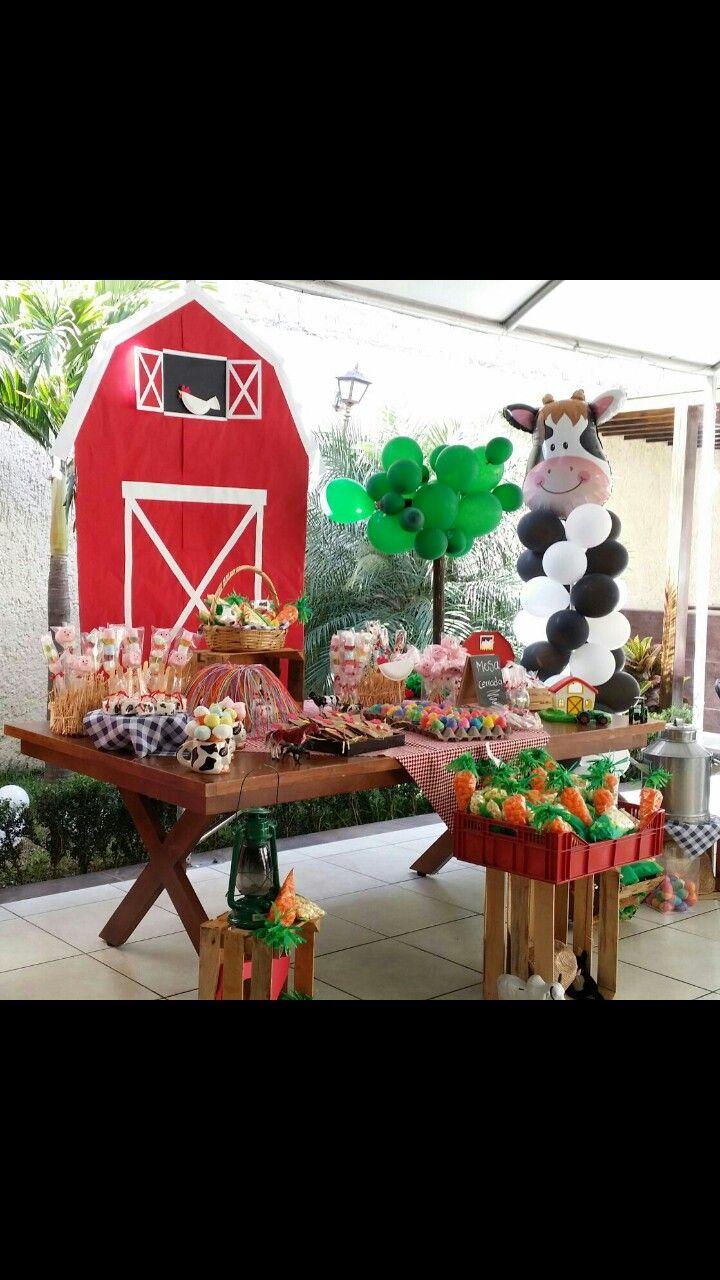 Animales de granja, candi bar  Fiesta infantil tematica, rancho, granja mesa de postres, candy bar