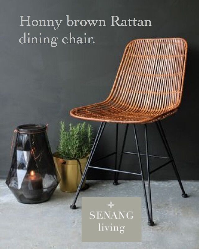 Honny brown dining Ratten chair from, boho & Luxery style senang Living