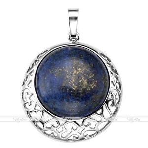Synthetic Lapis Lazuli Gemstone Bead Hollow Moon Pendant For Necklace Chain Gift