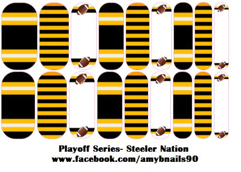 Playoff Series-Steeler Nation Perfect way to get your nails ready for the playoffs with a manicure sporting your favorite team!  Message me at www.facebook.com/amybnails90 to order   #steelers #playoffs #manicure #nails #nailart #jamberry
