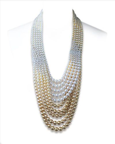 Mikimoto golden fantasy shawl with Golden South Sea and White South Sea pearls with a price of 850,000 USD