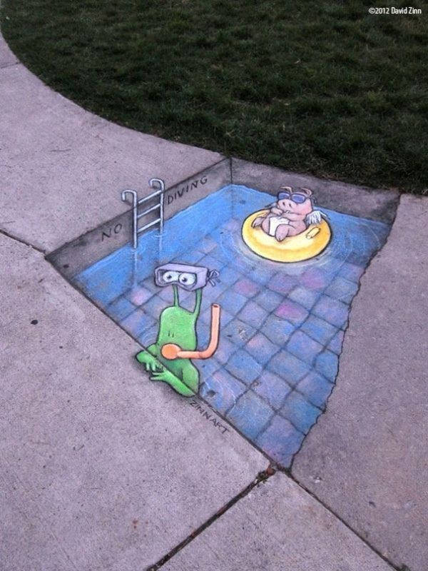 david+zinn+sidewalk+art | Funny Street Art by David Zinn | EntertainmentMesh