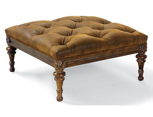 Ottoman in soft leather and change wood colour