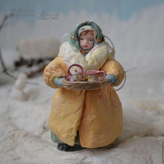 Новый год 2017 ручной работы. Ватная елочная игрушка НИНУЛЯ (торговка чая). Магия вещей (OlgaBIRD). Интернет-магазин Ярмарка Мастеров.