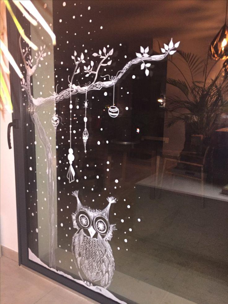 рисунок на стекле к новому году материалы