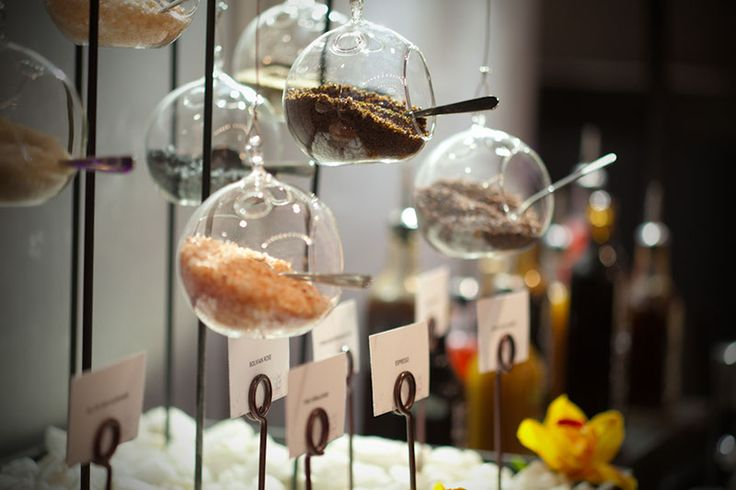 Hanging salts and garnishes above buffet