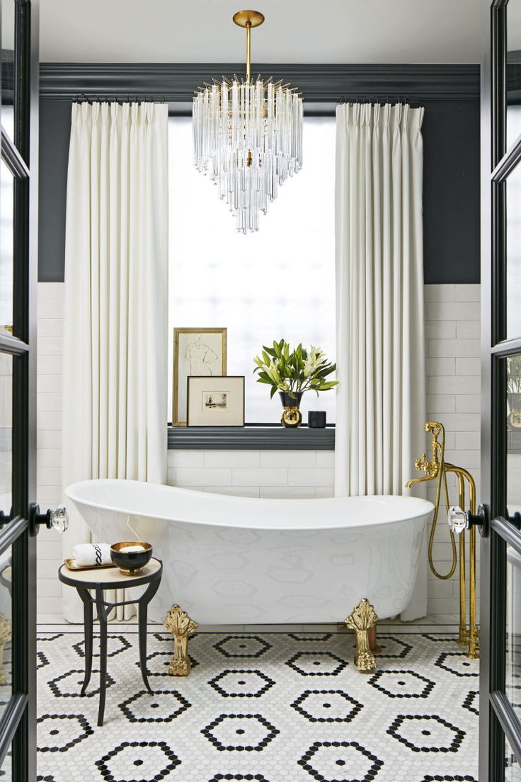 Love the tile floor! This Glam Bathroom Lets You Relax in Style (House Beautiful)