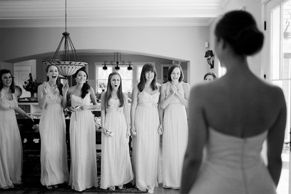 Don't forget to capture your Bridesmaid's faces on camera when they see your wedding dress for the first time!