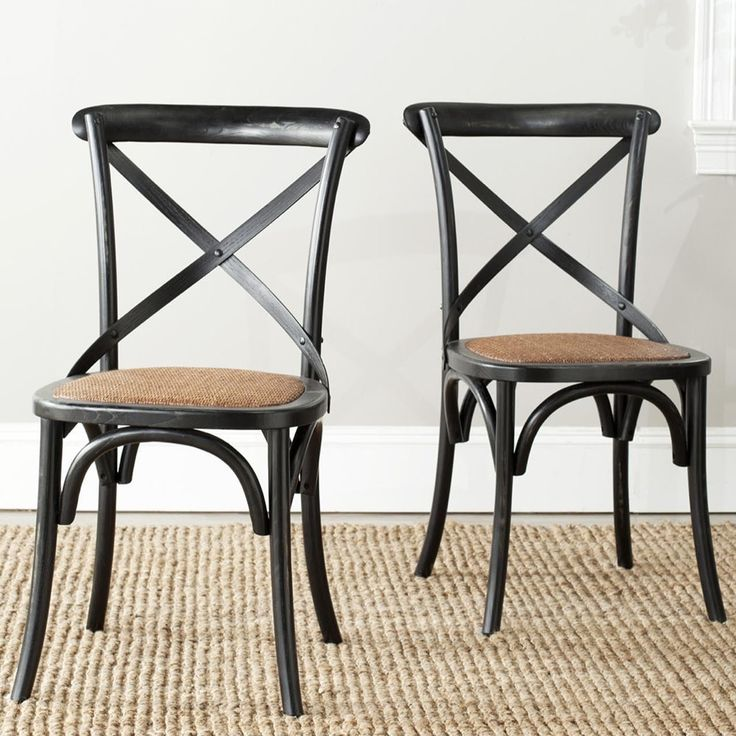 Safavieh Country Classic Dining Bradford X Back Antiqued Black Side Chairs (Set of 2) (AMH9500B-SET2) (Oak)
