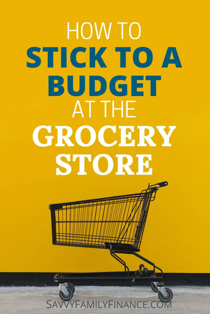 Find tips on how to stick to a budget at the grocery store so food spending stops taking such a big bite out of your money. via @savvyfamfinance